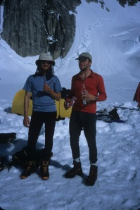 Scotty (L) and me back in base camp after Huntington, booze running low, but heading out -- just for the Hallibut.