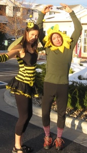 I am a pretty flower and she is my honey bee. (Hmmm, guess who came up with the costumes?)