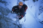 Jonny on our new route, Going Monk, Alaska, 2003.