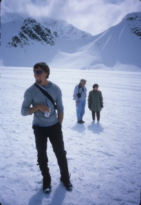 Jonny Copp and two old friends on the Kahiltna Glacier, AK, 2003.