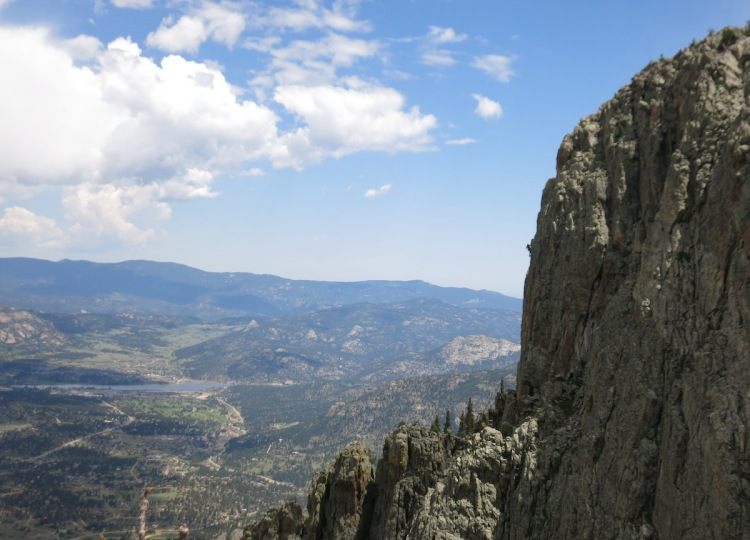 A party on the Upper Great Face, seen from atop the Lower Great Face at The Crags, Estes Park.