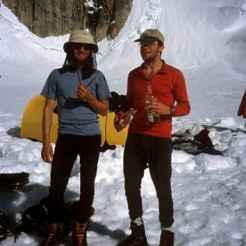 Scott DeCapio (L) and I enjoying the good life on the Tokositna after a rapid ascent of Mt. Huntington in 2001.