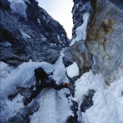 Kelly on a rapid, failed attempt at the French Route on Mt. Hunter in 2002. Scott DeCapio photo